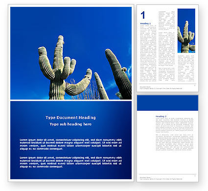 Nature & Environment: Desert Cactus Word Template #03383