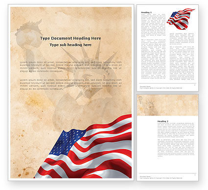 Holiday/Special Occasion: American Stars and Stripes Flag Word Template #03389