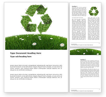 Nature & Environment: Recycling Symbol Word Template #03397