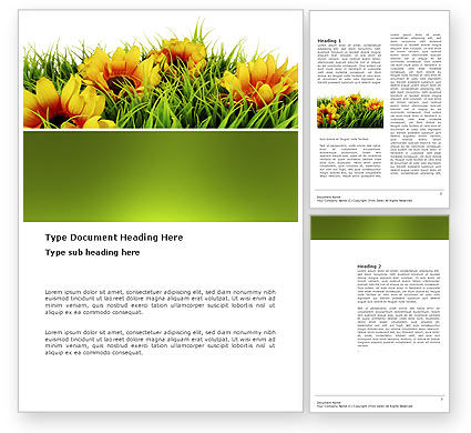 Yellow Flower Word Template, 03401, Agriculture and Animals — PoweredTemplate.com