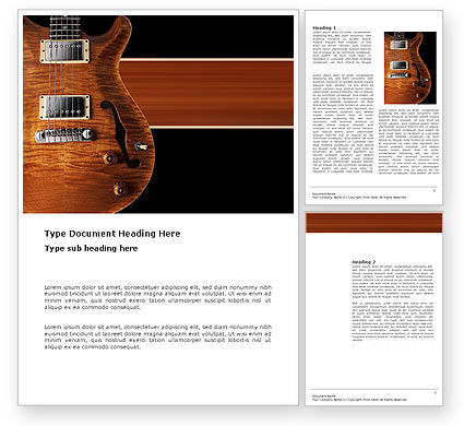Art & Entertainment: Semi Acoustic Guitar Word Template #03419