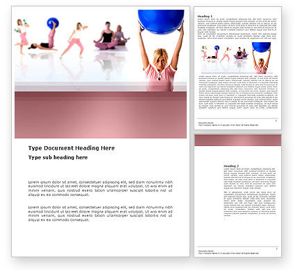 Women's Fitness Club Word Template, 03425, Sports — PoweredTemplate.com