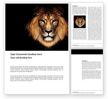 Nature & Environment: Lion With Red Mane Word Template #03428