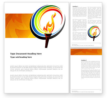 Olympic Fire Word Template, 03430, Sports — PoweredTemplate.com