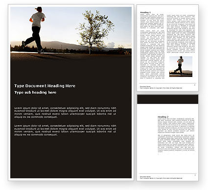 Sports: Morning Jogging Word Template #03440