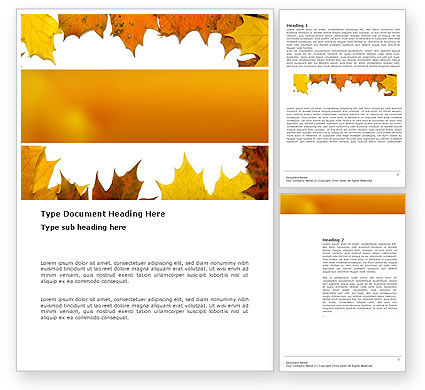 Nature & Environment: Yellow Leaves Frame Word Template #03446