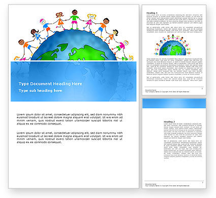 Friendship And Unity Word Template, 03475, Global — PoweredTemplate.com