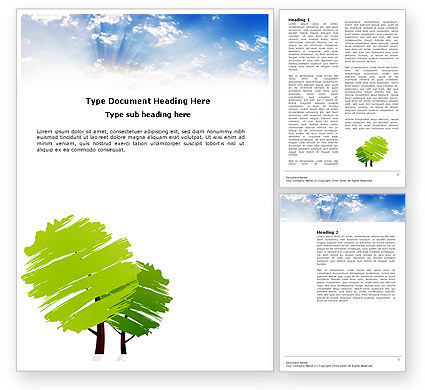 Greenery Word Template, 03479, Nature & Environment — PoweredTemplate.com