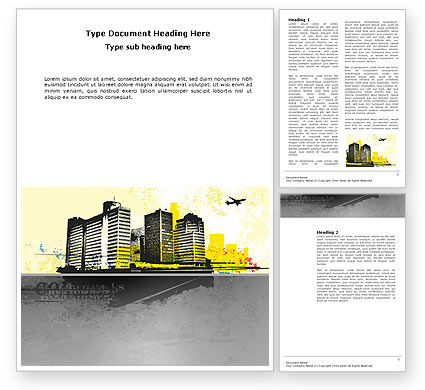 Urban Buildings Word Template, 03492, Construction — PoweredTemplate.com