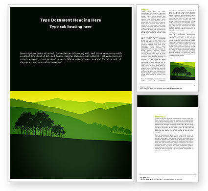 Nature & Environment: Mountain Landscape Word Template #03509
