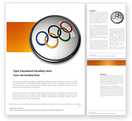 Olympic Symbol Word Template, 03512, Sports — PoweredTemplate.com