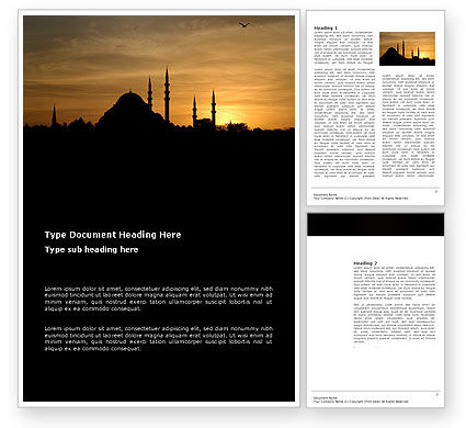 Religious/Spiritual: Silhouette Of Mosque On The Sunset Word Template #03526