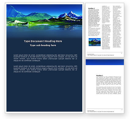 Nature & Environment: Mountain Lake Word Template #03534
