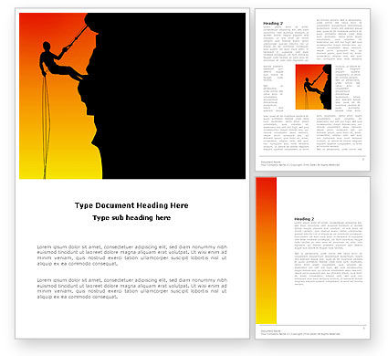 Consulting: Silhouette Of Rock Climber Word Template #03535