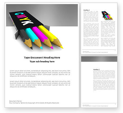 Careers/Industry: CMYK Colors Word Template #03565