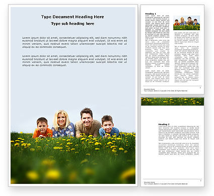 Family Outdoors Word Template, 03581, People — PoweredTemplate.com
