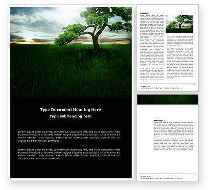 Nature & Environment: Solitary Tree Word Template #03585