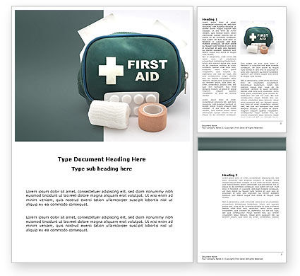 First Aid Set Word Template, 03596, Medical — PoweredTemplate.com