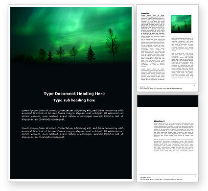 Northern Lights Word Template, 03607, Nature & Environment — PoweredTemplate.com