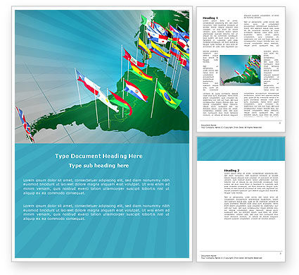South and Central America Word Template, 03615, Flags/International — PoweredTemplate.com