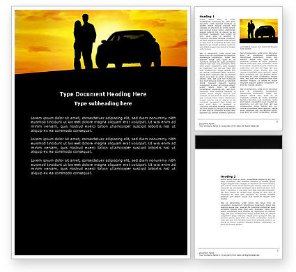 Cars/Transportation: Romantic Sunset Word Template #03617