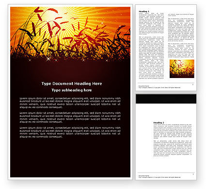Sunny Field Word Template, 03618, Agriculture and Animals — PoweredTemplate.com