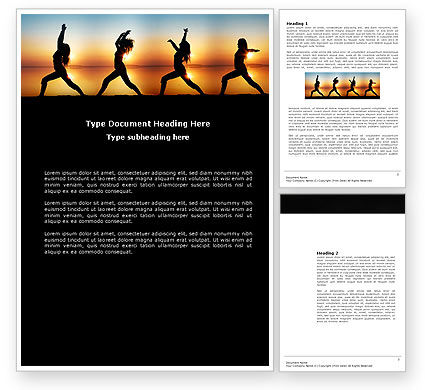 Sunset Exercises Word Template, 03624, Sports — PoweredTemplate.com