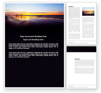 Nature & Environment: Ocean Sunset Word Template #03641