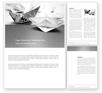 Paper Ship Word Template, 03650, Business Concepts — PoweredTemplate.com