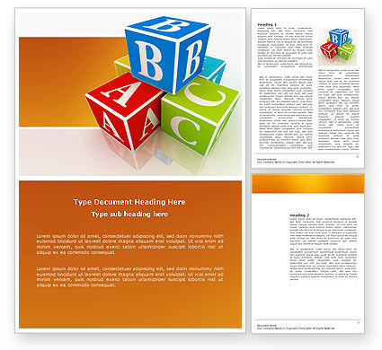 Education & Training: ABC Bricks Word Template #03660