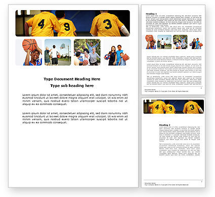 School Basketball Team Word Template, 03666, Sports — PoweredTemplate.com