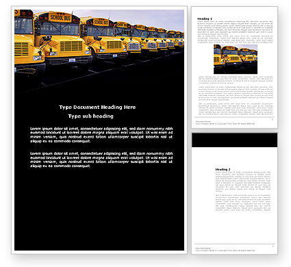 Cars/Transportation: School Bus Line Word Template #03667