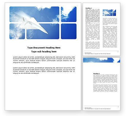 Paper Plane Word Template, 03676, Business Concepts — PoweredTemplate.com
