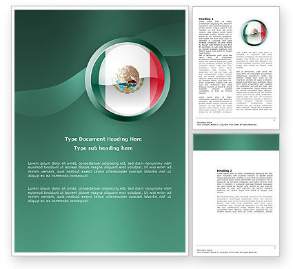 Mexico Word Template, 03681, Flags/International — PoweredTemplate.com