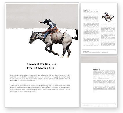 Cowboy On The Wild Mustang Word Template, 03683, America — PoweredTemplate.com