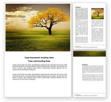 Yellow Tree In The Sunset In The Autumn Word Template, 03692, Nature & Environment — PoweredTemplate.com