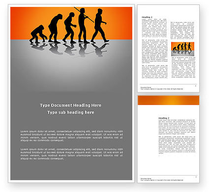 Human Evolution Word Template, 03694, Education & Training — PoweredTemplate.com