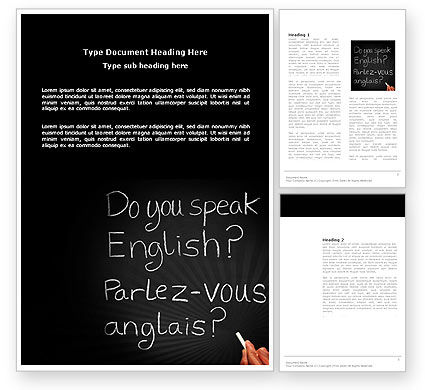 English Courses Word Template, 03706, Education & Training — PoweredTemplate.com