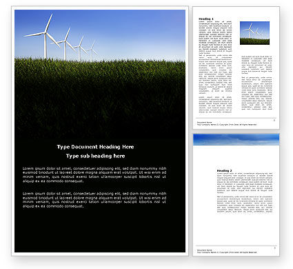 Nature & Environment: Wind Mills Word Template #03715