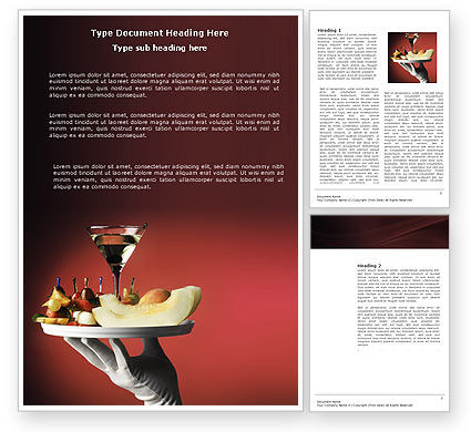 Snacks and Cocktail Word Template, 03722, Careers/Industry — PoweredTemplate.com
