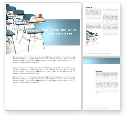 Education & Training: School Desk In A Classroom Word Template #03727