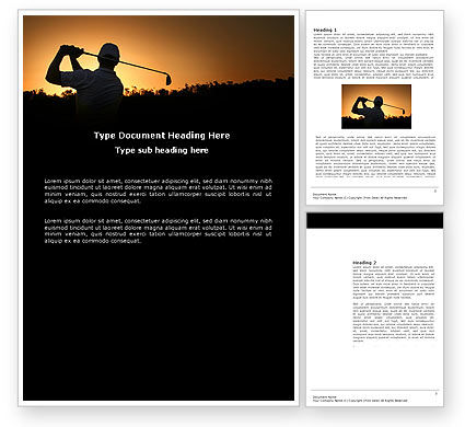 Golf Game On The Sunset Word Template, 03731, Sports — PoweredTemplate.com