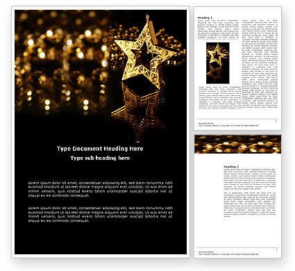 Holiday/Special Occasion: Gold Star Word Template #03748