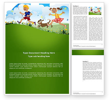 Education & Training: Happy Childhood Word Template #03756
