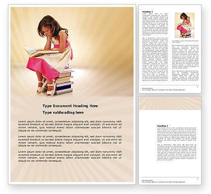 Reading Book Word Template, 03767, Education & Training — PoweredTemplate.com