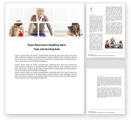Teacher and Kids Word Template, 03775, Education & Training — PoweredTemplate.com