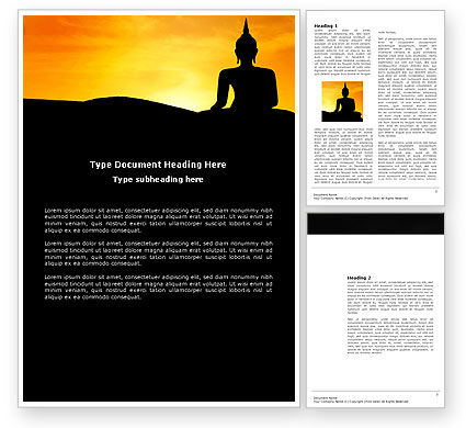Religious/Spiritual: Sitting Buddha In Sunset Word Template #03776