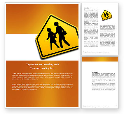 Education & Training: School Crossing Word Template #03784
