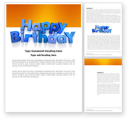 Holiday/Special Occasion: Happy Birthday Word Template #03817