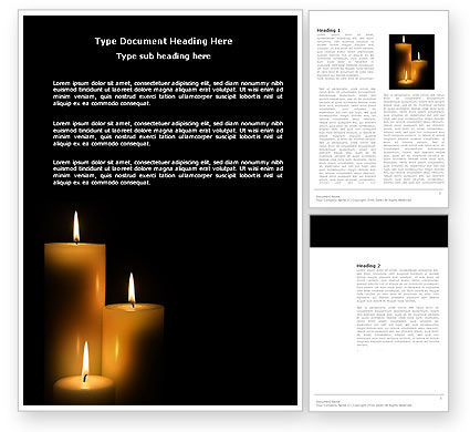 Religious/Spiritual: Candles Word Template #03822